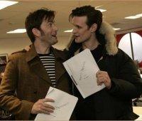 Дэвид Теннант и Мэтт Смит на съемках «Доктора Кто»